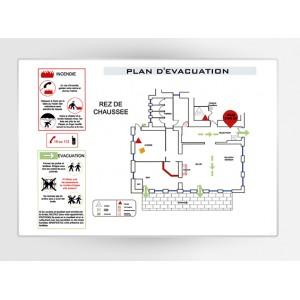 Impression Plan d'Evacuation sur PVC A4 297 x 210mm