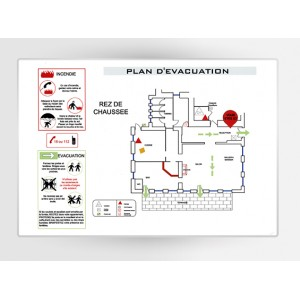 Impression Plan d'Evacuation sur PVC A2 420 x 594mm