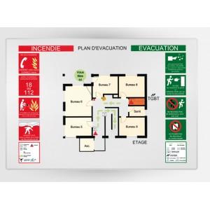 Impression Plan d'Evacuation sur Plexi A4 297 x 210mm