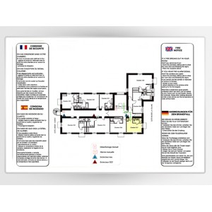 Impression Plan d'Evacuation sur Alu Laqué Blanc A3 420 x 297mm
