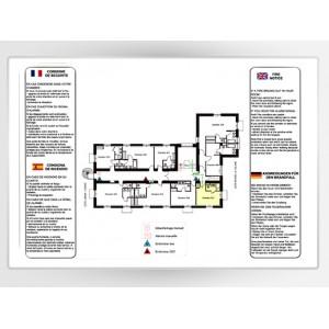 Impression Plan d'Evacuation sur Alu Laqué Blanc A2 420 x 594mm